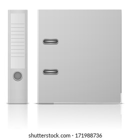 Blank office binder with metal rings, standing, back and side view. Vector illustration. EPS10.
