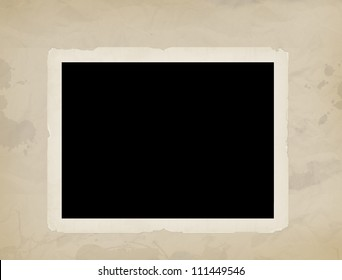 Blank old photo on old aged background paper,vector illustration