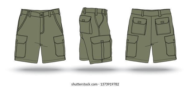 Blank olive green military cargo shorts template
