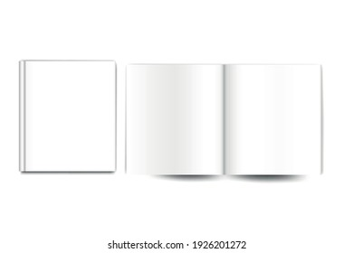 blank open book and blank book cover isolated on white, 3 d vector illustration