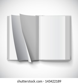Blank open book, turn the pages, vector illustration with gradient mesh. Isolated object for design and branding