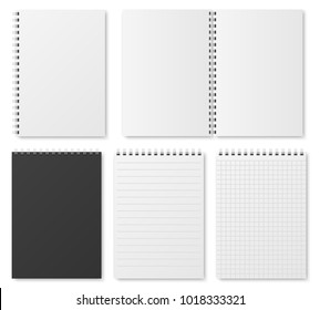 Blank open and closed realistic notebook, organizer and diary vector template isolated. Diary notepad, paper page organizer and notebook illustration