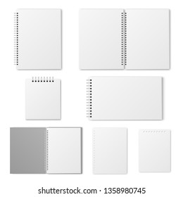 Blank open and closed spiral A4 notebook, organizer and diary with white paper. Realistic plastic cover  mockup.