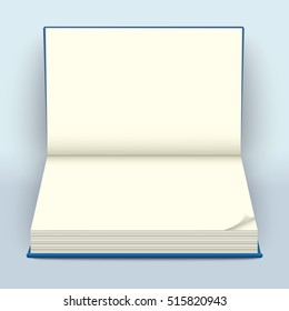 Blank open hard-cover book mockup. Empty notebook spread with folded paper edge or page curl. Vector illustration.