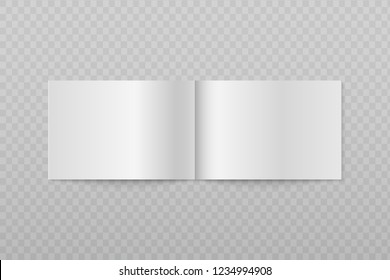 Blank open horizontal brochure. White booklet or magazine pages 3d vector isolated mockup