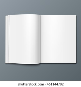 Blank Open Magazine, Book, Booklet, Brochure, Cover. Illustration Isolated On Gray Background. Mock Up Template Ready For Your Design. Vector EPS10