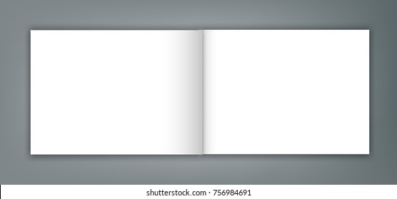 Blank open magazine catalogue brochure mockup cover template.