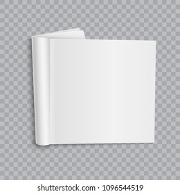 Blank open magazine mock up on transparent background. Template for your design. Vector