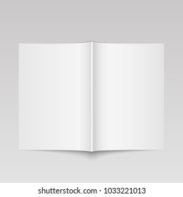 Blank open magazine mock up. Template for your design. Vector.