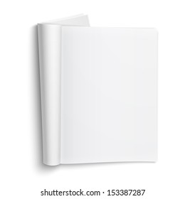 Blank open magazine template on white background with soft shadows. Vector illustration. EPS10.