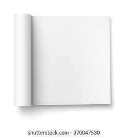 Blank open magazine template with rolled pages on white background . Square format. Ready for your design. Vector illustration.