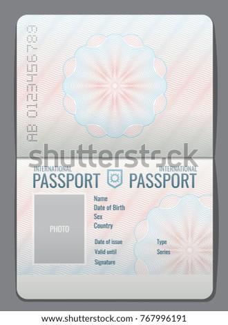 Blank Open Passport Template Isolated Vector Stock Vector (Royalty ...