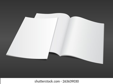 Blank opened A4 magazine mockup template with blank cover on dark background. Realistic editable vector EPS10 illustration for your design.