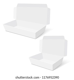Blank of opened box for gift, food or present. Vector.
