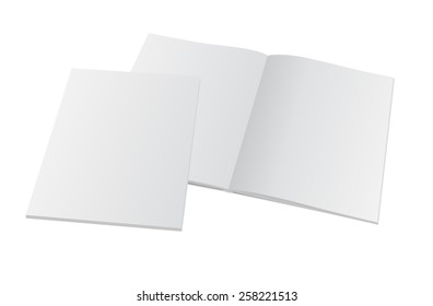 Blank opened magazine with cover. Vector mockup template illustration.
