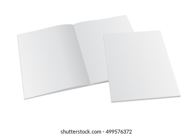 Blank opened magazine mock-up with cover