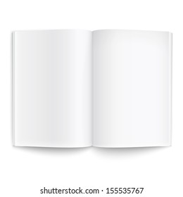 Blank opened magazine template on white background with soft shadows. Ready for your design. Vector illustration. EPS10.