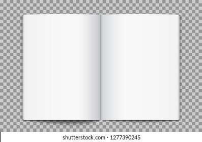 Blank opened magazine template. Open book page clean booklet or magazine template background.