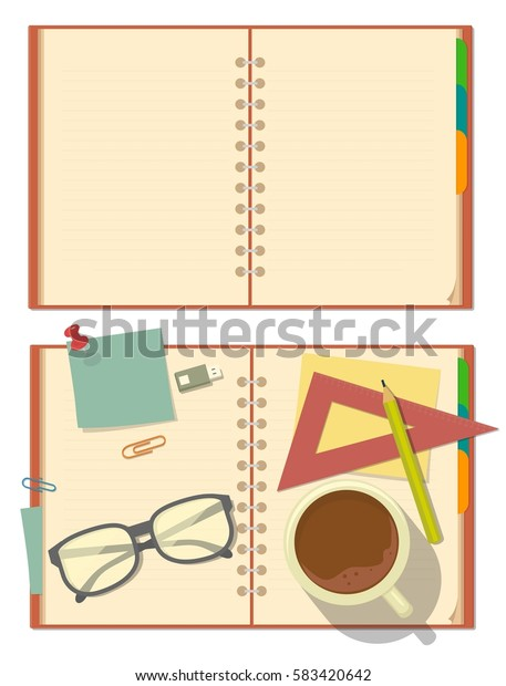 Blank opened notebook with glasses, pencil, ruler, clip, paper, stationery, cup of coffee. Top view. Vector flat color illustration isolated on white background.
