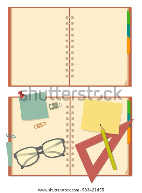 Blank opened notebook with glasses, pencil, ruler, clip, paper, stationery. Top view. Vector flat color illustration isolated on white background.