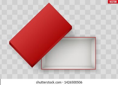 Blank of Opened Red Shoes Box With Lid. Mockup Rectangle Paper box container. Vector Illustration isolated on transparent background.