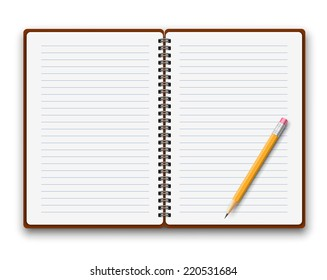 Blank opened spiral copybook template. Vector illustration.