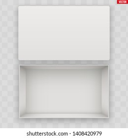 Blank of Opened White Shoes Box With Lid. Mockup Rectangle Paper box container. Vector Illustration isolated on transparent background.