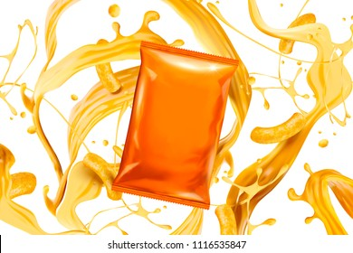 Blank orange foil bag with splashing cheese sauce and curls in 3d illustration