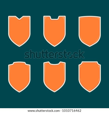 Blank Orange Shield Badge Shape Template Set Collection