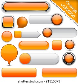 Blank orange web buttons for website or app. Vector eps10.