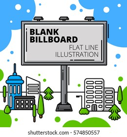 Blank outdoor billboard in cityscape. Colored flat line illustration.
