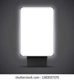 Blank outdoor lightbox isolated on background. City Lightbox with black and silver frame. Vector illustration