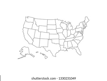 Blank outline detail United States of America Map. vector illustration