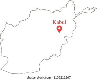 Blank outline map of Afghanistan border with capital location Kabul. Afghan map vector illustration white background