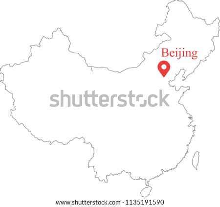 Blank Outline Map China Capital Location Stock Vector (Royalty Free ...