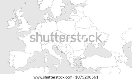 Blank Map Of Europe With Borders.Blank Outline Map Europe Caucasian Region Stock Vector Royalty Free