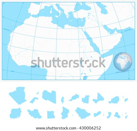 Blank Outline Map Northern Africa Middle Stock Vector (Royalty Free ...