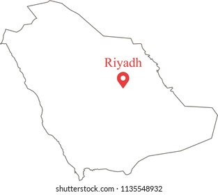 Blank outline map of Saudi Arabia border with capital location Riyadh. Saudi Arabia map vector illustration white background