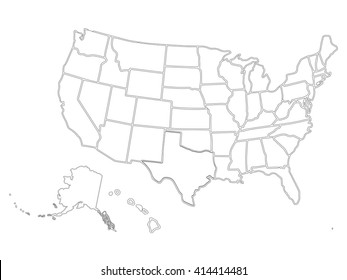 Usa Map Outline Images, Stock Photos & Vectors | Shutterstock