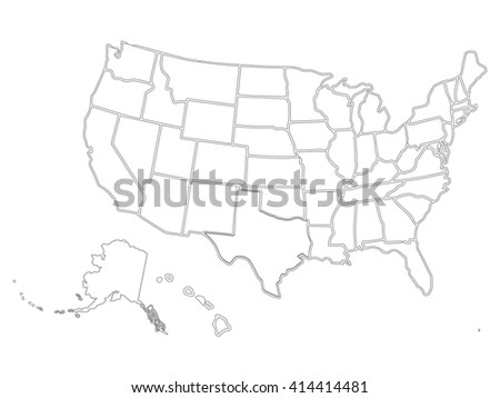 Blank Outline Map USA Stock Vector (Royalty Free) 414414481 ...