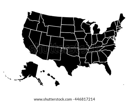 Blank Outline Map USA Stock Vector (Royalty Free) 446817214 ...
