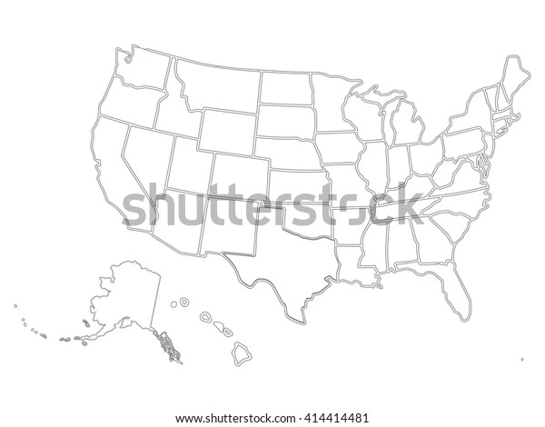 Blank Outline Map Usa Stock Vector (Royalty Free) 414414481
