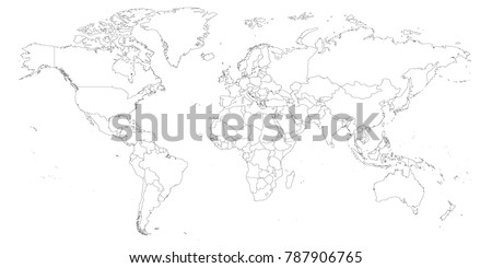 Map Of The World Test.Blank Outline Map World Worksheet Geography Stock Vector Royalty