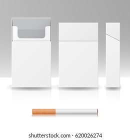 Blank Pack Package Box Of Cigarettes 3D Vector Realistic Mock Up. Product Packing For Design