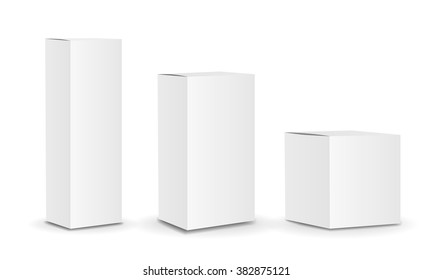 Blank package Box set. Vector