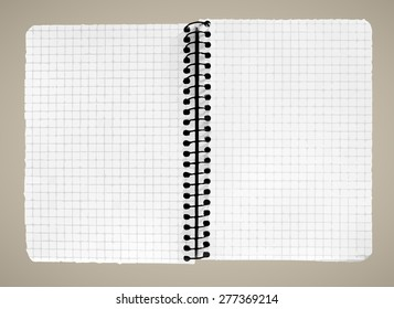 Blank page of note book on brown background