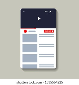 Blank page of video player social network isolated on white backgroundMobile video player flat frame. Smartphone social media interface. Play video online mock up. Subscribe button. Interface frame