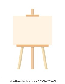 Blank painting easel flat vector illustration. Empty new canvas on wooden tripod. Professional artist workplace, workshop supply. Art school, studio equipment. Painter occupation, hobby symbol