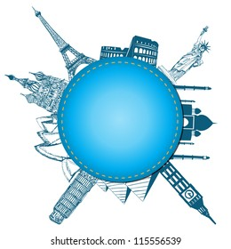 Blank paper with blue. World landmarks vector.