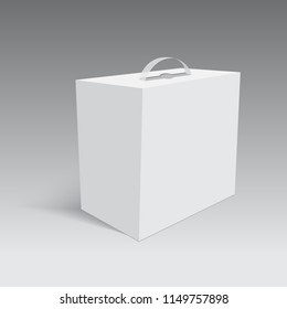 Blank paper or cardboard box with handle. Vector.